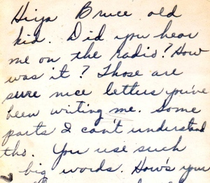 Fragment of a letter Lew sent to 4-year-old Bruce shortly after Lew joined the army.