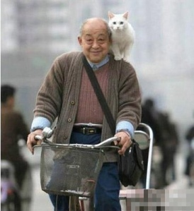 man on bike with cat